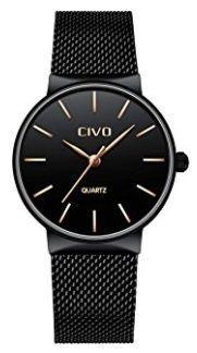 Reloj negro de acero inoxidable