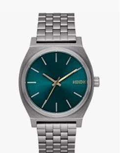 Reloj caja plateada y verde