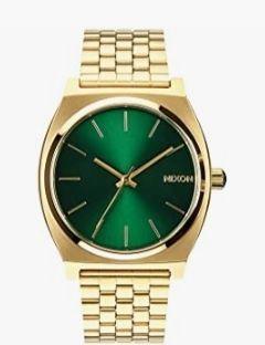 Reloj dorado y verde